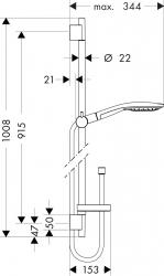 Душевой набор Hansgrohe Raindance Select S 150 90 см 27803400 3jet