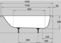 Ванна стальная Kaldewei Eurowa 119612030001 150x70 см