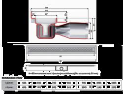 Душевой канал ACO ShowerDrain C-line 408763 с низким сифоном