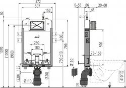 Скрытая система инсталляции Alca Plast AM1115/1000 Renovmodul Slim