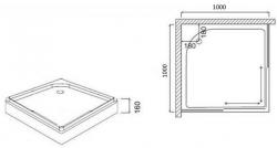Поддон душевой Am.Pm Like Square W80T-303-100W 100 см
